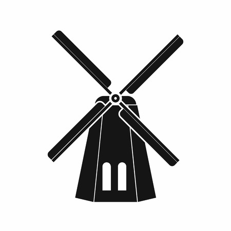 dutch landmark: Windmill icon in simple style on a white background