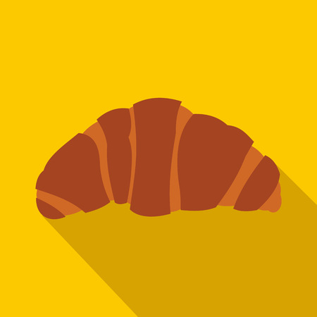 buttery: Croissant icon in flat style on a yellow background
