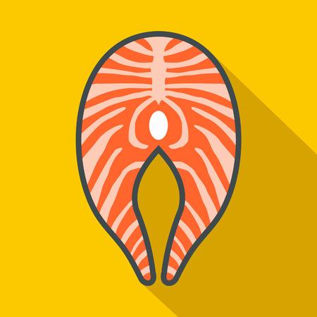 salmon steak: Salmon steak icon in flat style on a yellow background