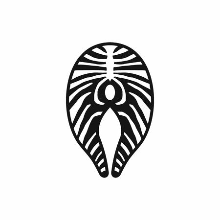 salmon steak: Salmon steak icon in simple style on a white background Illustration