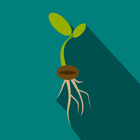 plant seed: Plant sprout icon in flat style with long shadow Illustration