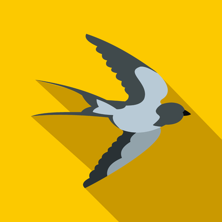 swallow bird: Flying swallow bird icon in flat style with long shadow