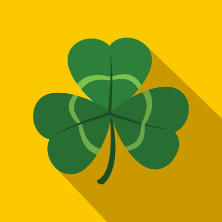 three leaf clover: Green shamrock, three leaf clover icon in flat style with long shadow Illustration