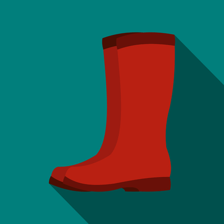 gumboots: Red rubber boots icon in flat style with long shadow