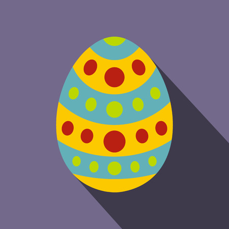 ostern: Easter egg icon in flat style with long shadow