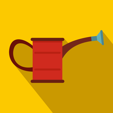 grower: Watering can icon in flat style with long shadow
