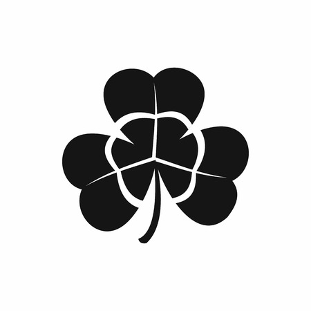 three leaf clover: Three leaf clover icon in black simple style isolated on white background Illustration