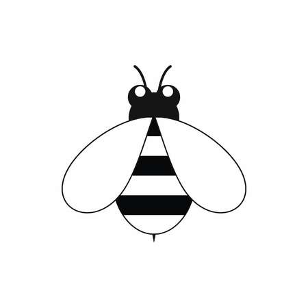 Cute little bee icon in black simple style isolated on white background