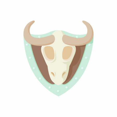 stuffed: Stuffed bull icon in cartoon style isolated on white background. Hunting and collecting symbol