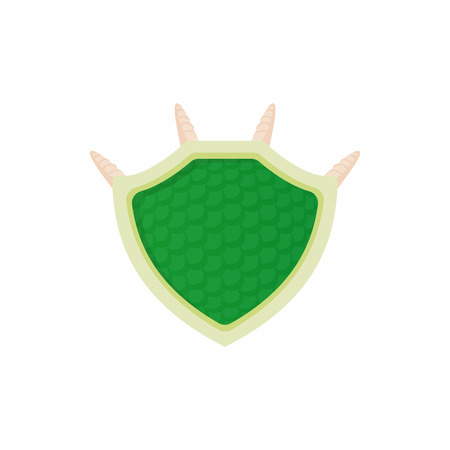 security symbol: Green protective shield icon in cartoon style isolated on white background. Protection and security symbol