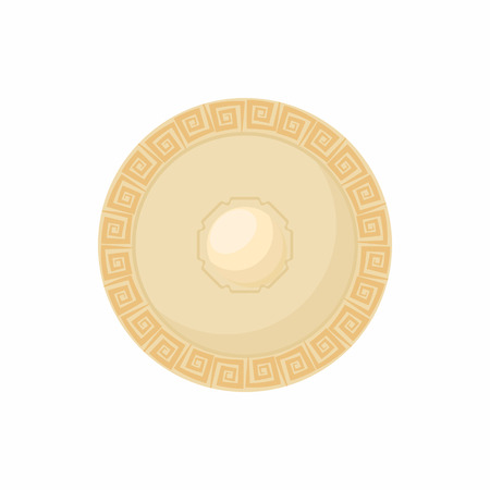 combatant: Shield with carved pattern icon in cartoon style isolated on white background. Protection and security symbol
