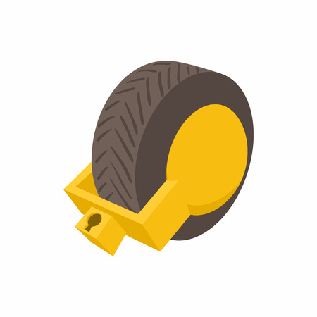 illegally: Lock for car wheels icon in cartoon style isolated on white background. Transport and service symbol