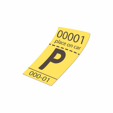 drive ticket: Parking ticket icon in cartoon style isolated on white background. Transport and service symbol
