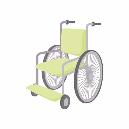 cartoon wheelchair: Wheelchair icon in cartoon style isolated on white background. Convenience for disabled symbol