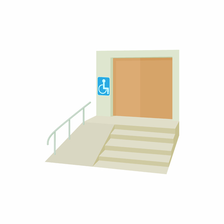 ramp: Ramp for disabled icon in cartoon style isolated on white background. Convenience for disabled symbol Illustration