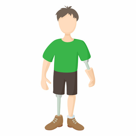 amputation: Disabled person with prosthetic icon in cartoon style isolated on white background. Disability and assistance symbol Illustration