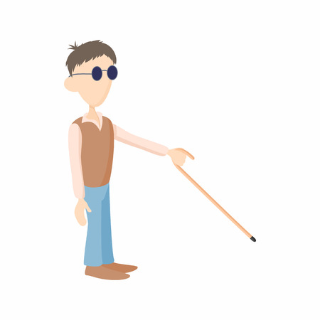 gait: Blind man with cane icon in cartoon style isolated on white background. Disability and assistance symbol
