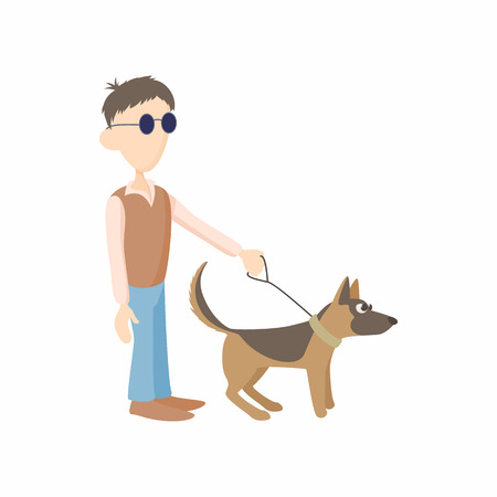 guide dog: Blind man with dog guide icon in cartoon style isolated on white background. Disability and assistance symbol