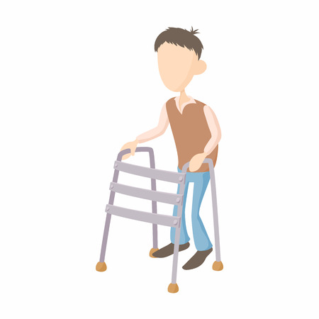 Boy with walker icon in cartoon style isolated on white background. Disability and assistance symbol