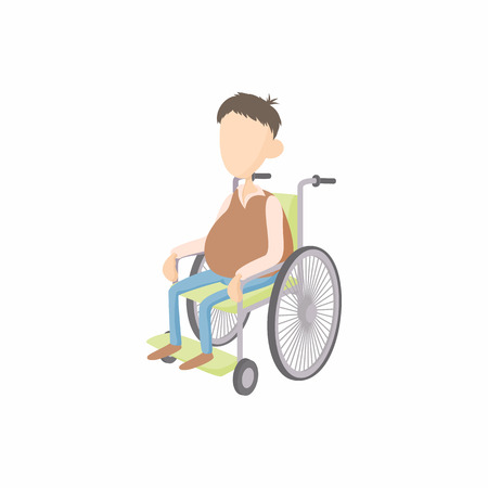 cartoon wheelchair: Man in wheelchair icon in cartoon style isolated on white background. Disability and assistance symbol