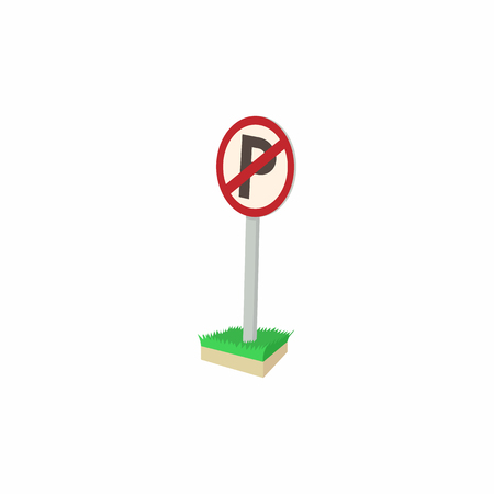 parking is prohibited: Parking is prohibited icon in cartoon style isolated on white background. Transport and service symbol
