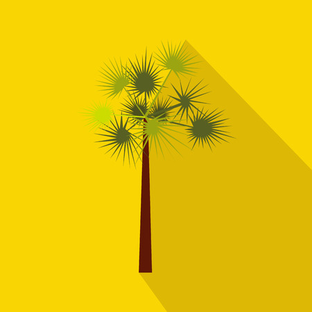subtropical: One green palm tree icon in flat style on a yellow background