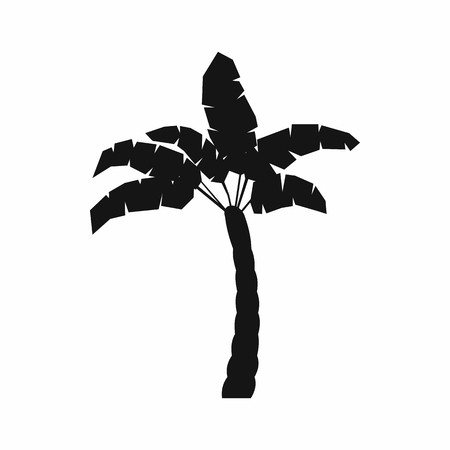 silhoutte: Palm tree icon in simple style on a white background Illustration