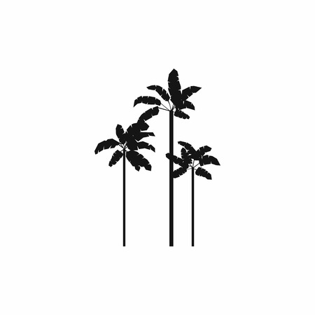 three palm trees: Three palm plant trees icon in simple style on a white background