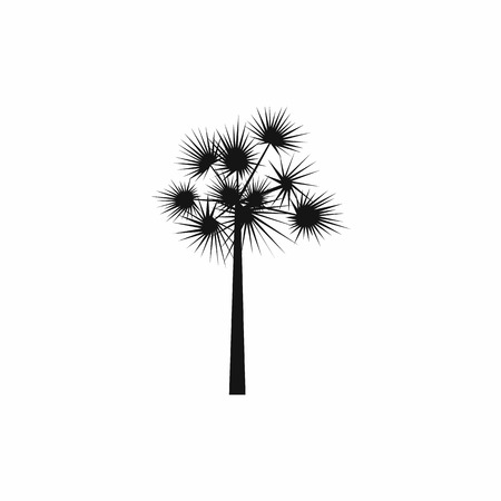 subtropical: One palm tree icon in simple style on a white background Illustration