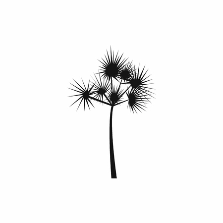silhoutte: One palm tree icon in simple style on a white background Illustration