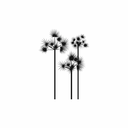 three palm trees: Three palm trees icon in simple style on a white background
