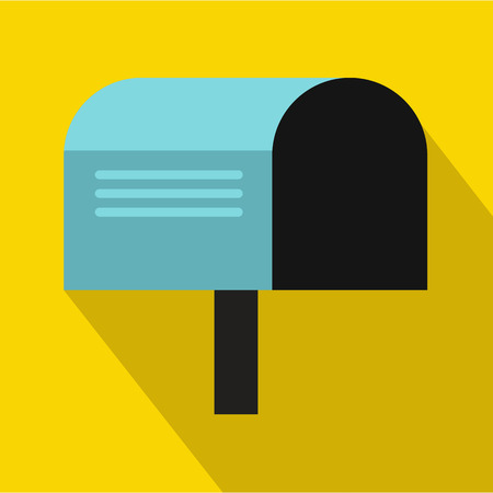 await: Blue mailbox icon in flat style on a yellow background