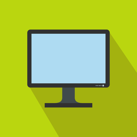 Blank computer monitor icon in flat style on a green background