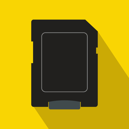 sd card: Micro sd card icon in flat style on a yellow background