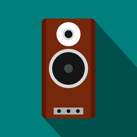 surround system: Brown speaker icon in flat style on a blue background