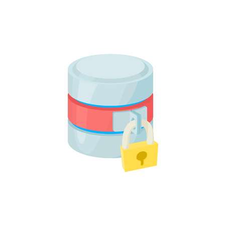 secured: Secured database icon in cartoon style isolated on white background. Data storage symbol