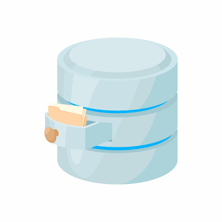 storing: Storing files in database icon in cartoon style isolated on white background. Data storage symbol