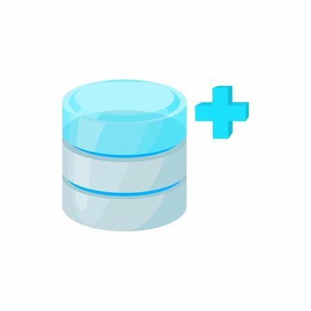 augmentation: Database growth icon in cartoon style isolated on white background. Data storage symbol