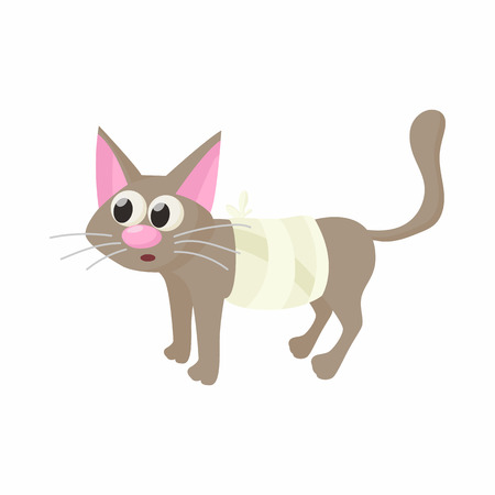 veterinary care: Cat with an injury icon in cartoon style isolated on white background. Veterinary care symbol Illustration