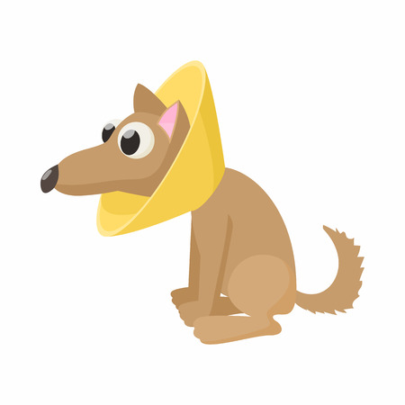 pity: Dog in neck brace icon in cartoon style isolated on white background. Veterinary care symbol