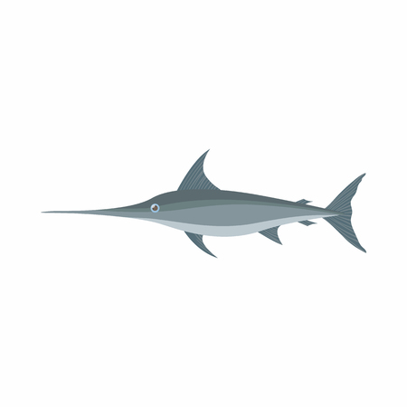 swordfish: Swordfish icon in cartoon style isolated on white background. Sea and ocean symbol