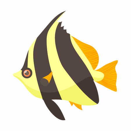 moorish idol: Moorish idol fish icon in cartoon style isolated on white background. Sea and ocean symbol