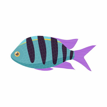tang: Striped tropical fish icon in cartoon style isolated on white background. Sea and ocean symbol