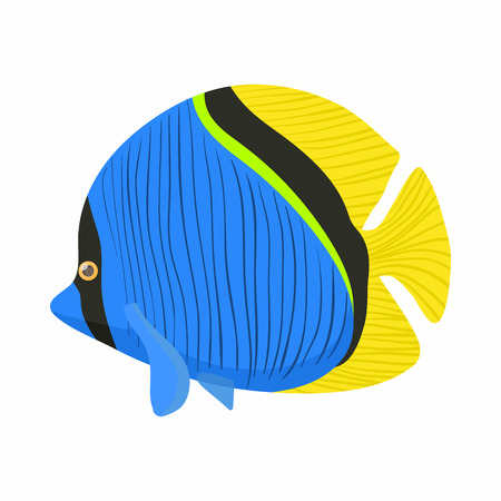 surgeon fish: Surgeon fish icon in cartoon style isolated on white background. Sea and ocean symbol