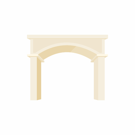 ionic: antique portal with columns icon in cartoon style on a white background Illustration