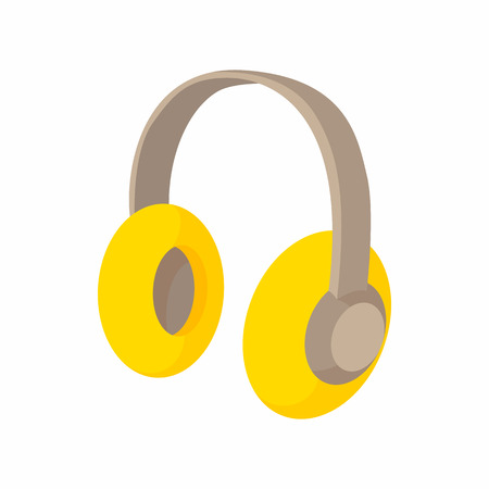 decibel: Yellow protective headphones icon in cartoon style on a white background
