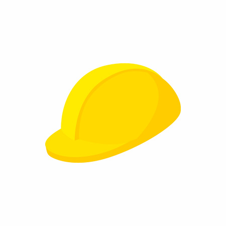 mine site: Yellow hardhat icon in cartoon style on a white background