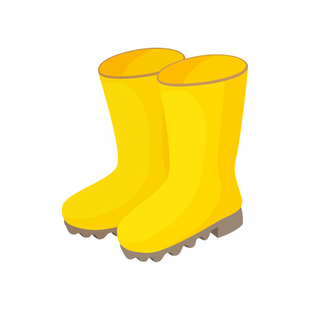 galoshes: Yellow rubber boots icon in cartoon style on a white background