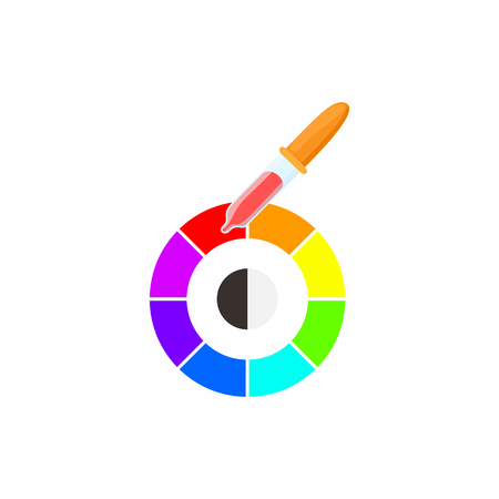 paint samples: Palette of paint samples with pipette icon in cartoon style on a white background
