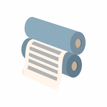printshop: Two rollers with a paper between them icon in cartoon style on a white background